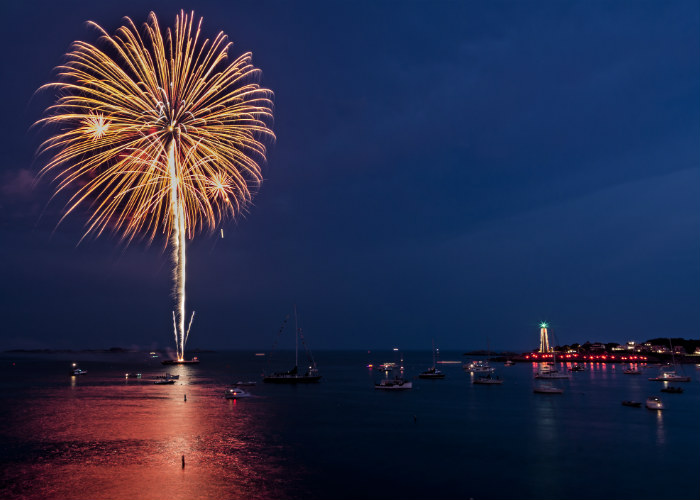 New England yacht charter fireworks